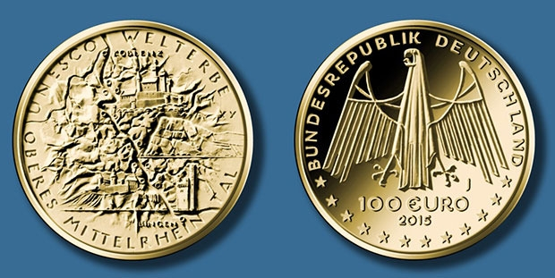 Neue 100 Euro Münze Zeigt Das Obere Mittelrheintal Aus Der